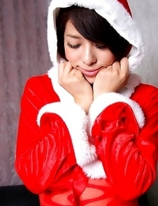Yuma Ueda Japan is Santa hot girl in crotchless red pantyhose
