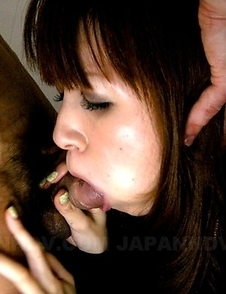 Horny Yui Igawa sucks a big pecker
