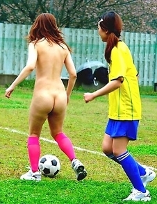 Sexy girls playing soccer naked